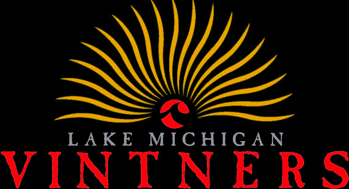 This image is the Lake Michigan Vintners logo with the words Lake Michigan Vintners below it. Yellow rays emanate from the red sun, and the red sun has the Lake Michigan College logo in the center. The background is black.