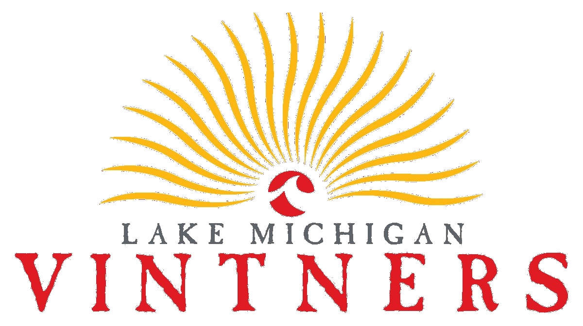 This image is the Lake Michigan Vintners logo with the words Lake Michigan Vintners below it. Yellow rays emanate from the red sun, and the red sun has the Lake Michigan College logo in the center. The background is transparent.