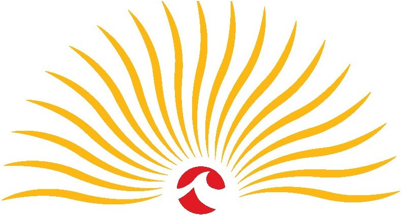 This image is the Lake Michigan Vintners logo. Yellow rays emanate from the red sun, and the red sun has the Lake Michigan College logo in the center. The background is white.