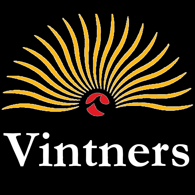 This image is the Lake Michigan Vintners logo with the words Vintners below it. Yellow rays emanate from the red sun, and the red sun has the Lake Michigan College logo in the center. The background is black.