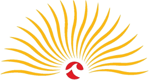 This image is the Lake Michigan Vintners logo. Yellow rays emanate from the red sun, and the red sun has the white Lake Michigan College wave logo in the center. The background is transparent.