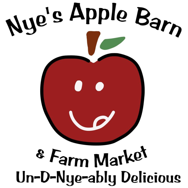 Nye's Apple Barn logo, featuring an apple with a human face licking its lips.