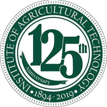 """The Southwest Michigan Research and Education Center logo is a white circle with green lettering reading """"Institute of Agricultural Technology: 1894 - 2019, 125th Anniversary."""""""